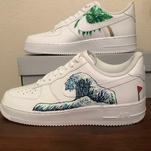 Nike Shoes Customized Airforce 1 Custom Painted Japanese Wave